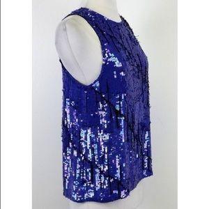Gryphon Royal Blue Sleeveless Sequin Top Sz M